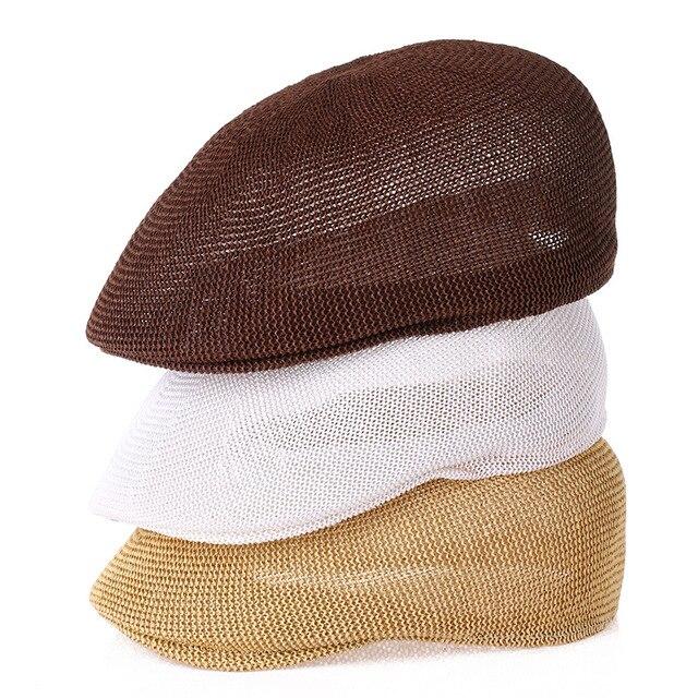 Mode béret chapeau Casquette chapeau paille maille chapeaux pour hommes et femmes enfants visières chapeau de soleil Gorras Planas casquettes plates été 2018