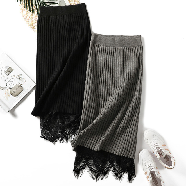 Faldas de suéter de punto de mujer Falda de tubo de encaje de rayas midi de cintura alta de punto de fondo elástico otoño caliente falda casual de invierno