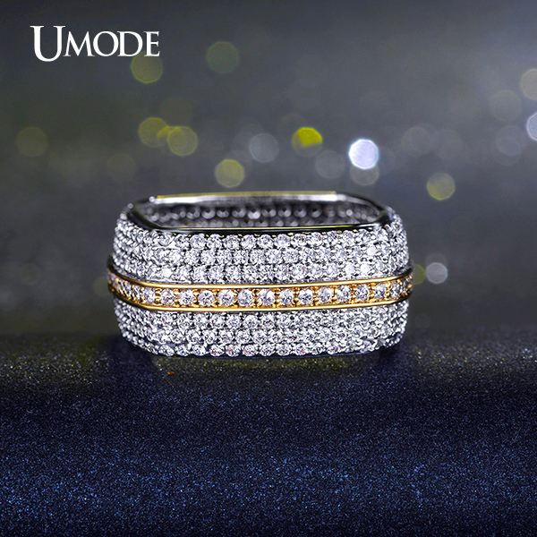 UMODE Two Tone Gold-color Square Wedding Ring with Full Cubic Zirconia Paved Fashion Jewelry For Women UR0198