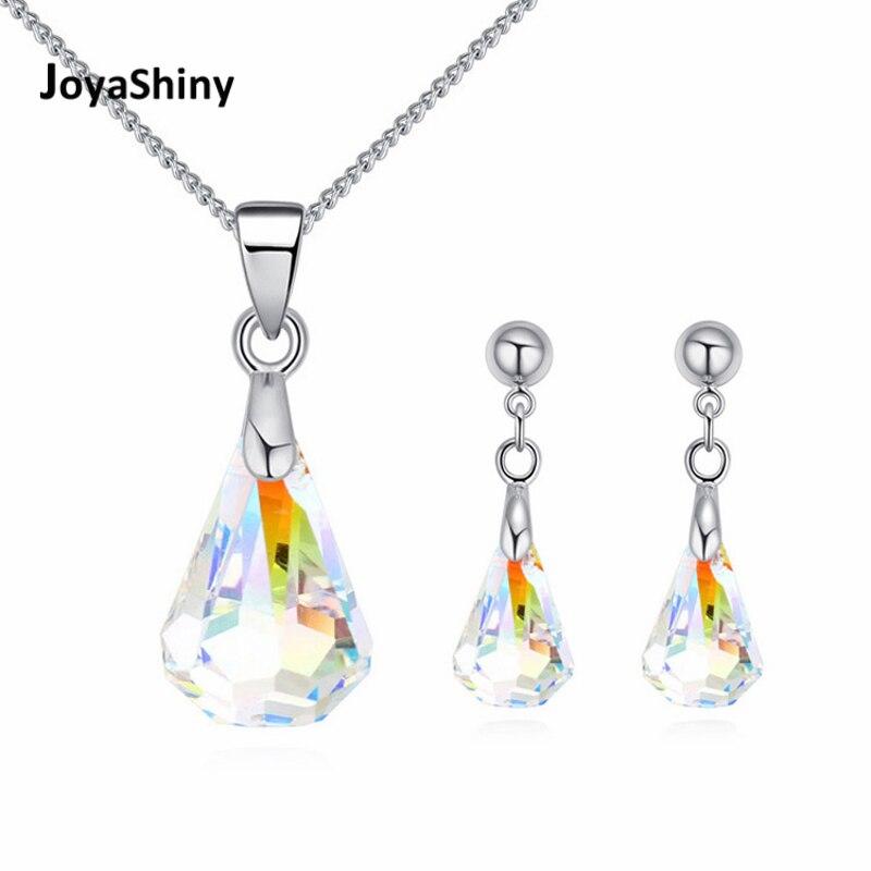 Joyashiny Original Kristalle Von Swarovski Regentropfen Anhänger Halsketten Piercing Ohrringe Schmuck Sets Für Frauen Mutter Geschenke