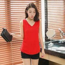 купить Simple Women Brand 2019 Summer Sexy Low-cut Tanks Tops sleeveless V-neck Chiffon blouse Plus Size XXL Candy colors Camisole по цене 703.42 рублей