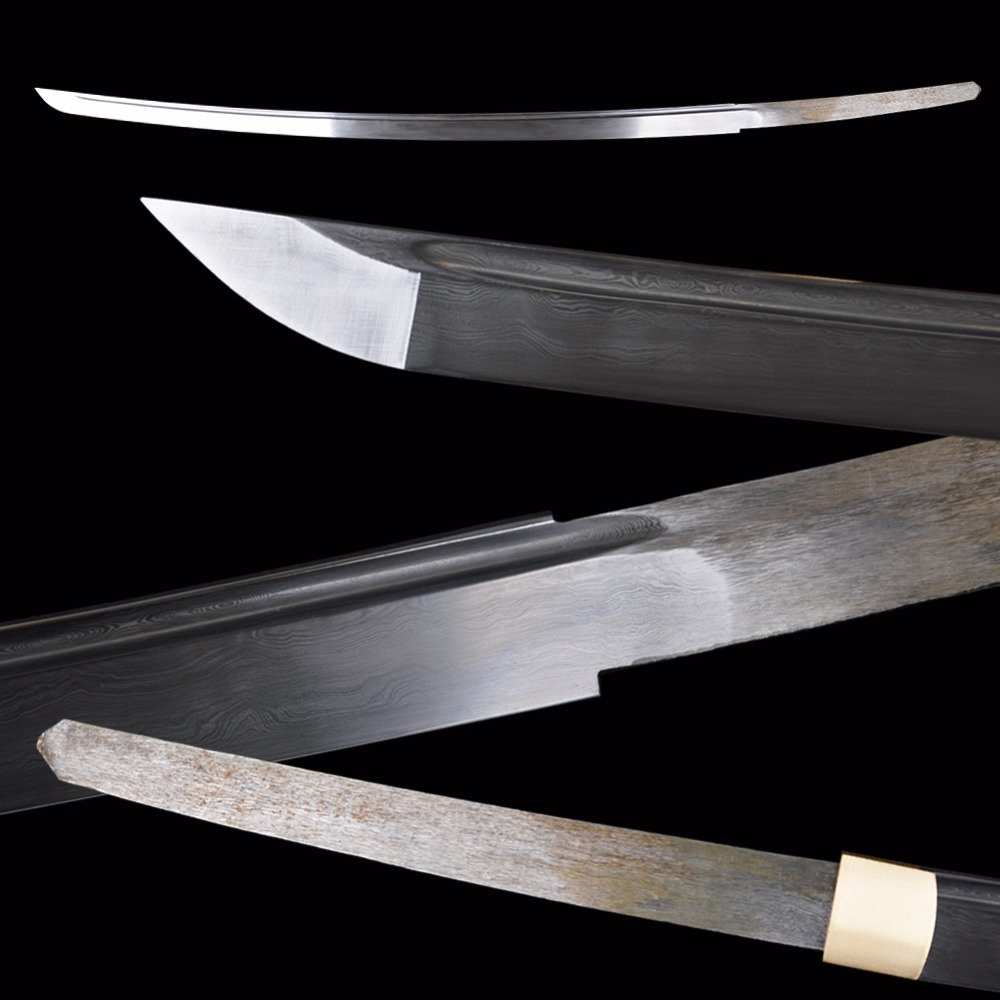 Damaskus Japansk Katana Blade Japansk Samurai Sword Assemble DIY - Heminredning