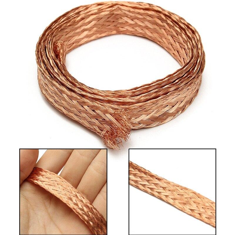 10m 11mm  6mm2 Flat Pure Copper Braid High Flexibility Cable Bare Copper Braid Lead Wire Ground Lead Wire