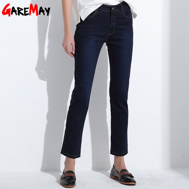 Calças de Brim de inverno Femme Magros Retas De Cintura Alta Plus Size Algodão Calças jeans calças de Brim Das Mulheres Para As Mulheres de Alta Calça Jeans Cintura RUISUN Y421