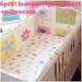 Promoción! 6 unids algodón del bebé Nursery edredón cuna cuna juego de cama cuna parachoques ( bumpers + hojas + almohada cubre )