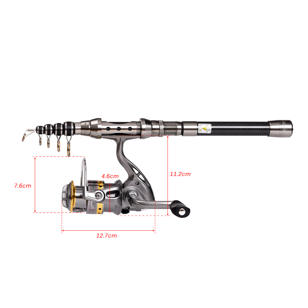 Lixada 2.4m Telescopic Fishing Rod and Reel Combo Full  Spinning Fishing M1H8