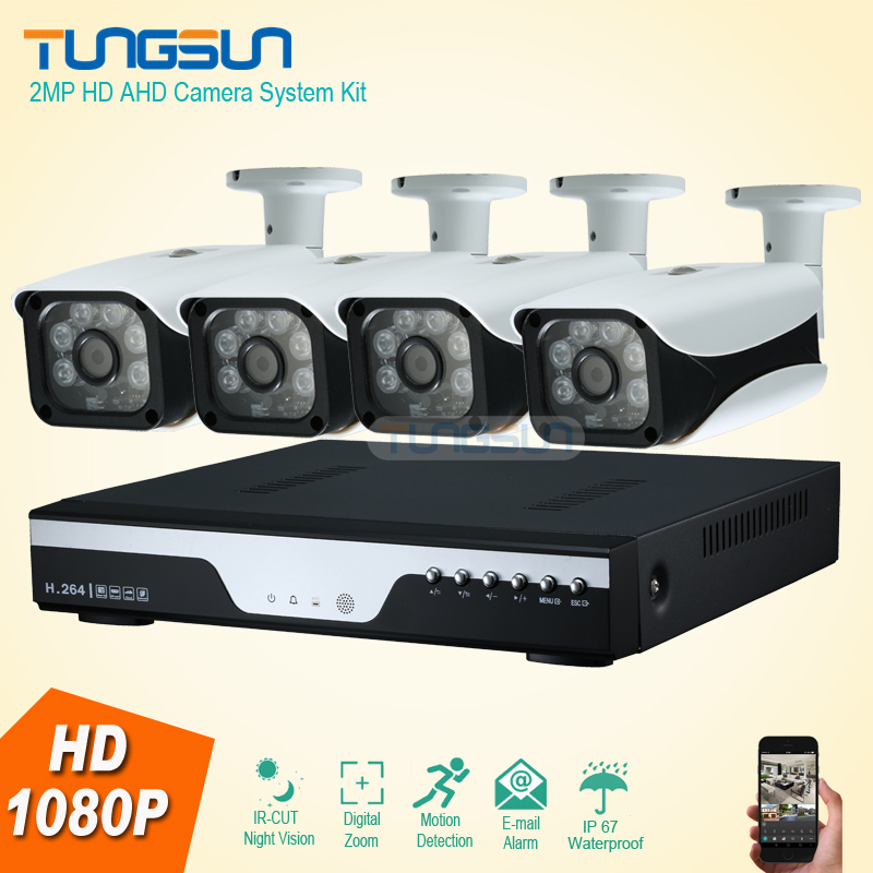 New 4 Channel HD AHD 2MP Home Outdoor Security Camera System Kit 6led Array Video Surveillance 1080P CCTV Camera System 4ch DVR cctv 4ch 1080p ahd recording kit with hd 2mp dome ir day night 4 channel ahd camera kit video surveillance home security system