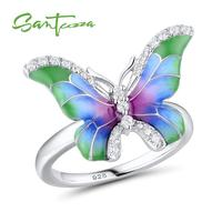 SANTUZZA Silver Ring For Women 925 Sterling Silver Elegant Colorful Butterfly Ring Sparkling CZ Fashion Jewelry Handmade Enamel