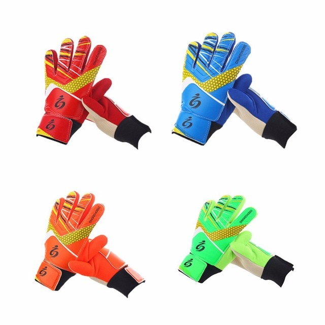 Kid s Soccer Goalkeeper Gloves guantes de portero for Children 5-16 Years  Old Soft Goalkeeper Gloves Size 5 6 7 af0ed9c76