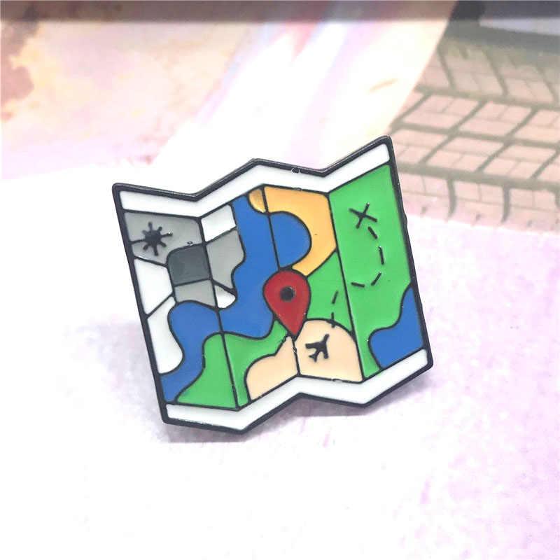 New dark แผนที่แผนที่เข็มกลัดพับพัดลมป้ายแผนที่เด็กน่ารักเข็มกลัดเครื่องประดับเสื้อผ้า denim จี้ของขวัญ