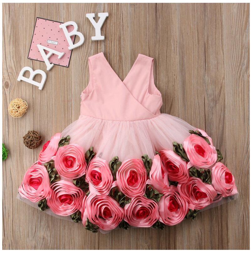 ins toddler girls floral applique lace dress Halloween children girls bows sleeveless flower dress fairy tale baby kids princess