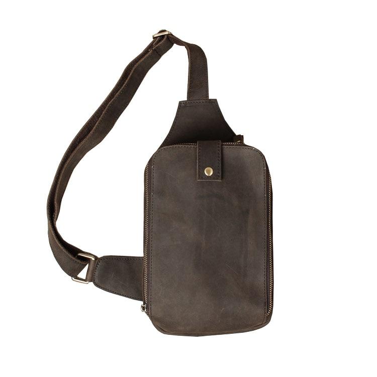 ФОТО High Quality Men Genuine Leather Chest Bag Vintage Casual Small Crossbody Tote Men Large Messenger Shoulder Bag for Cowboy 1035