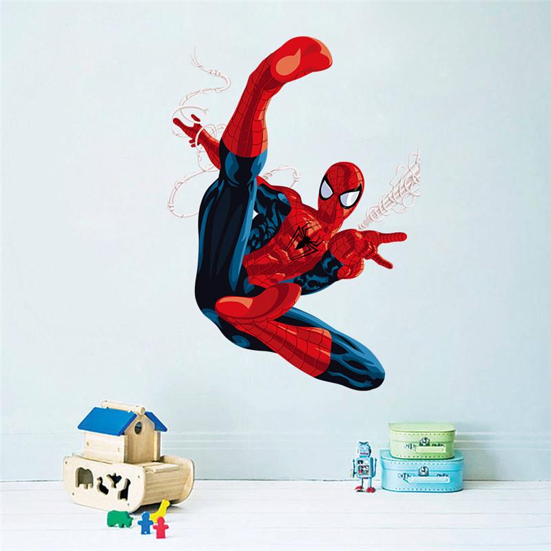 HTB1F.EzLXXXXXXdXFXXq6xXFXXX8 - Hero Spiderman wall stickers for kids rooms decals home decor Kids Nursery 3D Wall sticker decoration for Boy christmas gift