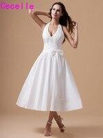 Vintage Longitud de Té Vestidos de Novia de Tafetán Cabestro Correas Sexy Cuello En V Vestidos Little White Dresses Short Custom Cena de Ensayo