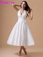Vintage Tea Length Taffeta Wedding Dresses Halter Straps Sexy V Neck Rehearsal Dinner Dresses Little White