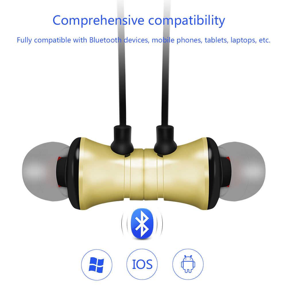 Bluetooth słuchawki bezprzewodowe słuchawki Bluetooth sport zestaw słuchawkowy z pałąkiem na kark bas odporny na pot słuchawki stereo wbudowany mikrofonem do telefonów