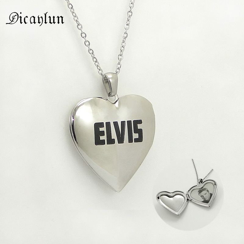 DICAYLUN Stainless Steel heart Necklace Elvis openable pendant photo locket Collar Chain Jewelry Accessories Gifts for women men locket
