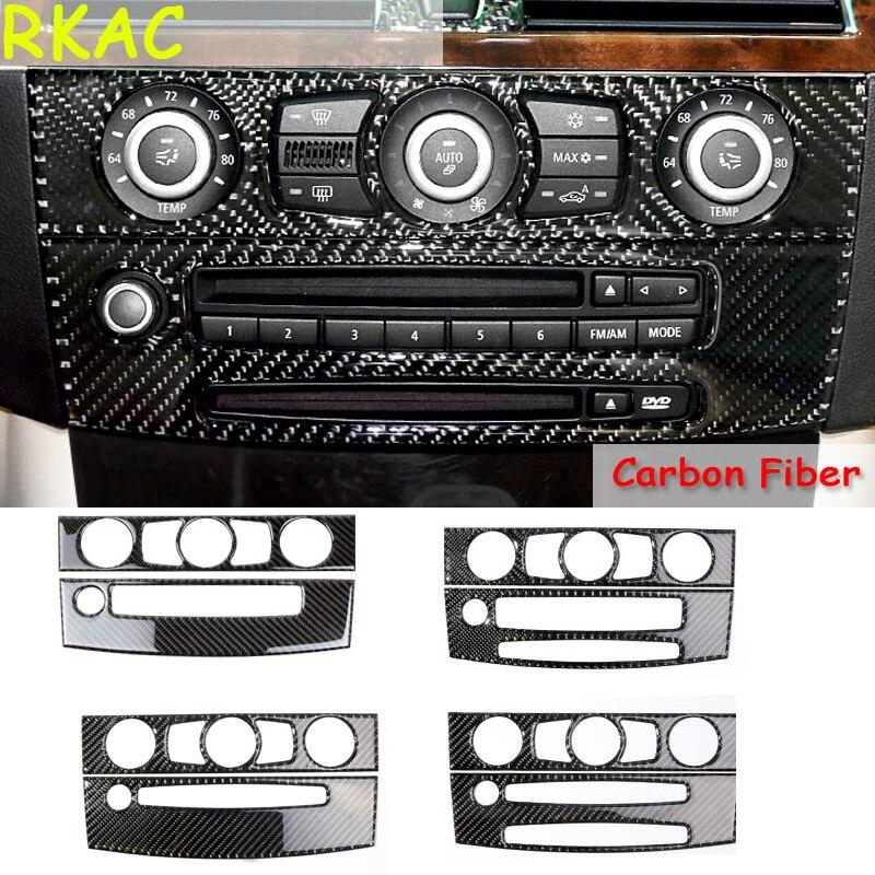 RKAC Garniture Intérieure En Fiber De Carbone climatisation CD contrôle panneau décoration pour BMW e60 série 5 2004-2010 accessoires