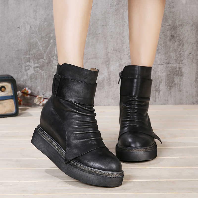 Klasik kadın ayakkabı doğal inek deri el yapımı ayak bileği patik bayan platformu yüksekliği artan el boyalı kadın Retro çizmeler