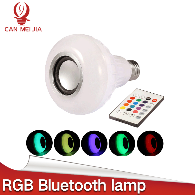 12W E27 Led Bulb Wireless RGB Bluetooth Speaker Lamp Smart Music Player 85-265V Dimmable LED Bombillas Lighting +Remote Control zjright smart bluetooth speaker led bulb dynamic flame effect music lamp e27 ir remote full color rgbw led lamp home lighting