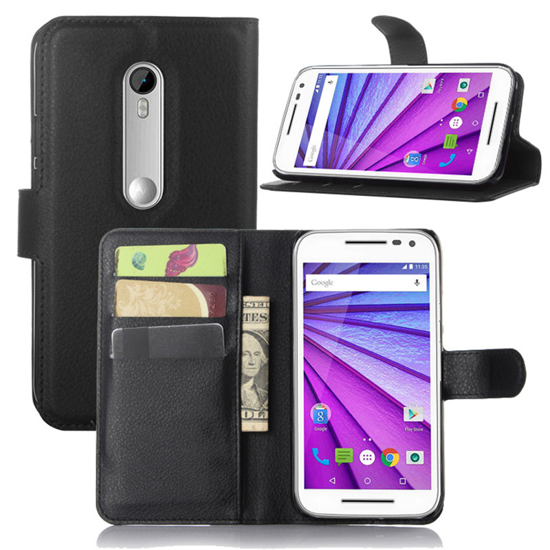 PU Leather Flip Wallet Case Cover Fundas For Motorola Moto G3 G 3rd Gen XT1540 XT1550 / MOTO G TURBO EDITION XT1556 Phone Cover