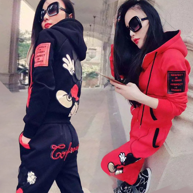 Casual Sports Suit Female Autumn And Winter Korean Version Of Loose Slim Fashion Long-sleeved Plus Velvet Sweater Two-piece Set