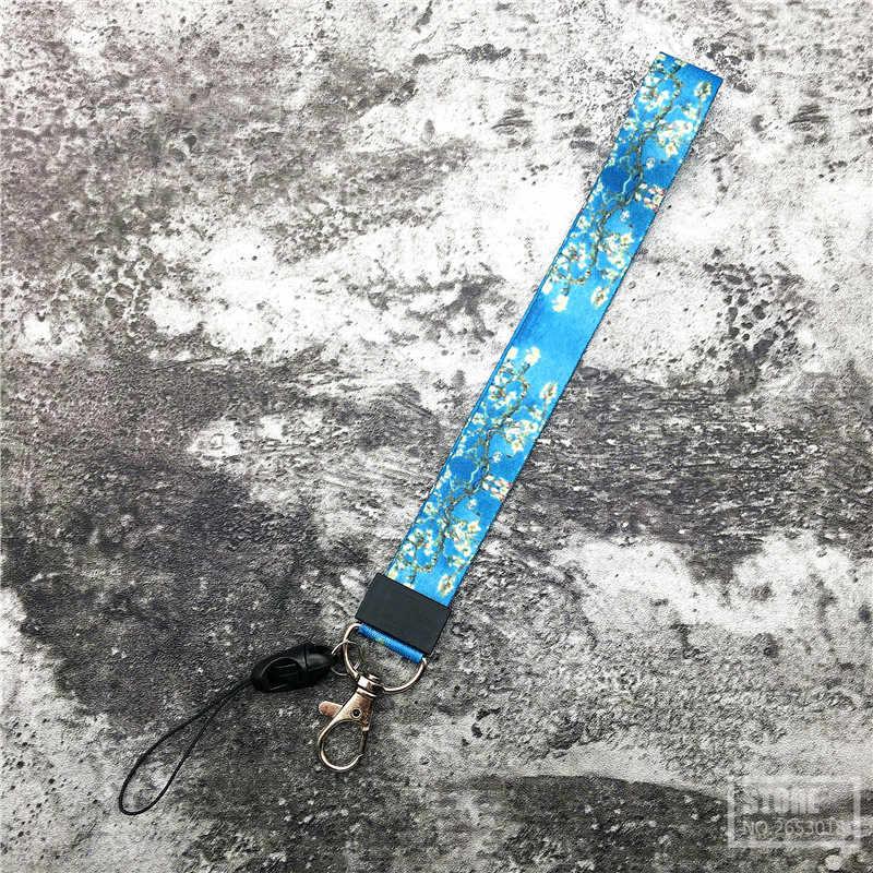 Céu estrelado Prémio flor Cordão Alça de pescoço para chaves ID Card badge holder Ginásio Cintas Do Telefone Móvel USB DIY Pendure corda Lariat