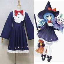 Anime japonés FECHA A VIVO Yoshino Cosplay Disfraces de Halloween Ropa de Rol Vestido y Sombrero Mágico Beldam Traje Uniforme
