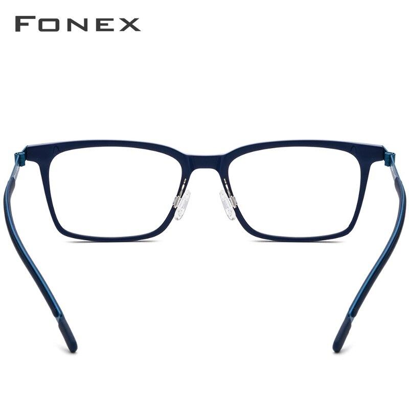 B pur titane lunettes cadre hommes acétate 2018 nouvelle haute qualité carré myopie optique Prescription lunettes sans vis lunettes - 5