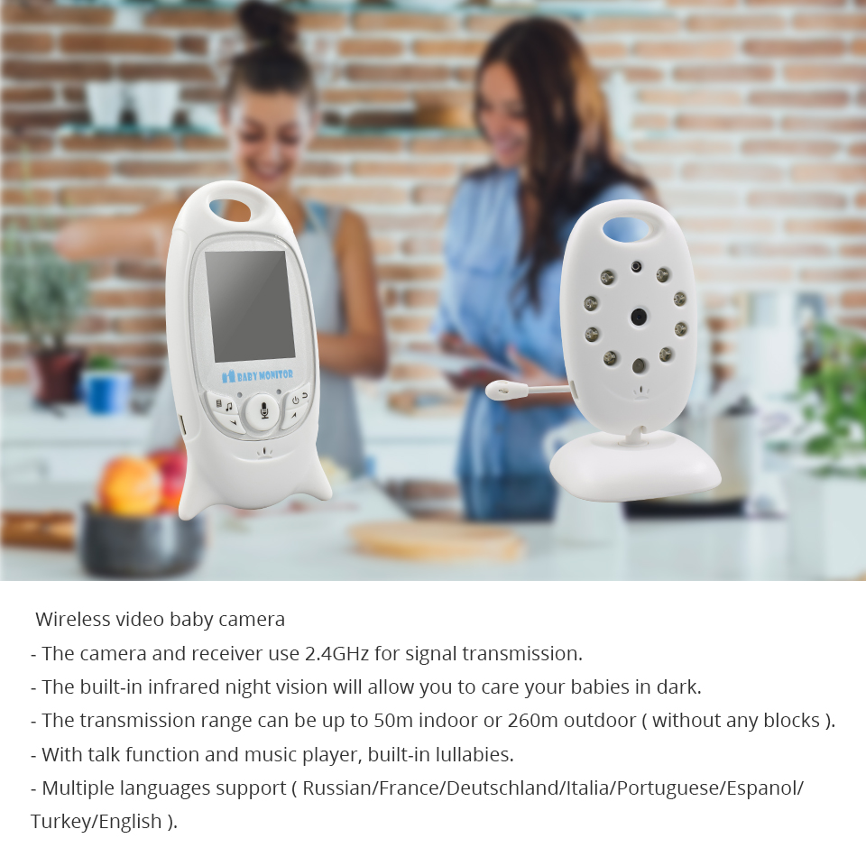 Image 2 - Baby Monitor VB601 Wireless 2.0 inch Audio Video Radio Nanny Baby Camera Portable Baby BeBe Baba Electronic Camara Babysitter-in Baby Monitors from Security & Protection