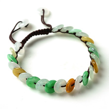 DropShipping Natural Myanmar Emerald Bracelets Luck Amulet Tricolor jade Bracelet & bangles For Women Gift