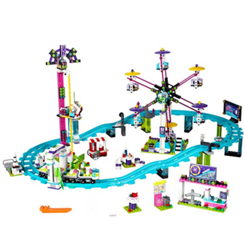 Compatibility Amusement Park Roller Coaster Friends Blocks Model Building kits Bricks Toys for Children