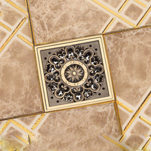 "Free Shipping Antique Brass 4"" Square Floor Drain Cover Decorative Floor Waste Grate Drainer(China)"