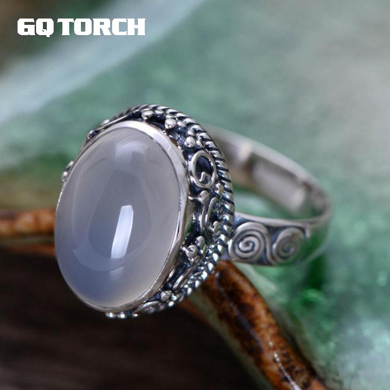 GQTORCH 925 Sterling Silver Natural Gemstone Rings For Women White Chalcedony Vintage Flower carved Fine Jewelry Anelli Argento gqtorch natural purple amethyst rings for women 925 sterling silver jewelry vintage thai silver flower engraved anelli argento