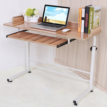 9% High Quality Height Adjustable Computer Table with Universal Wheels Piano Painting Surface Laptop Desk for Bed with Fence