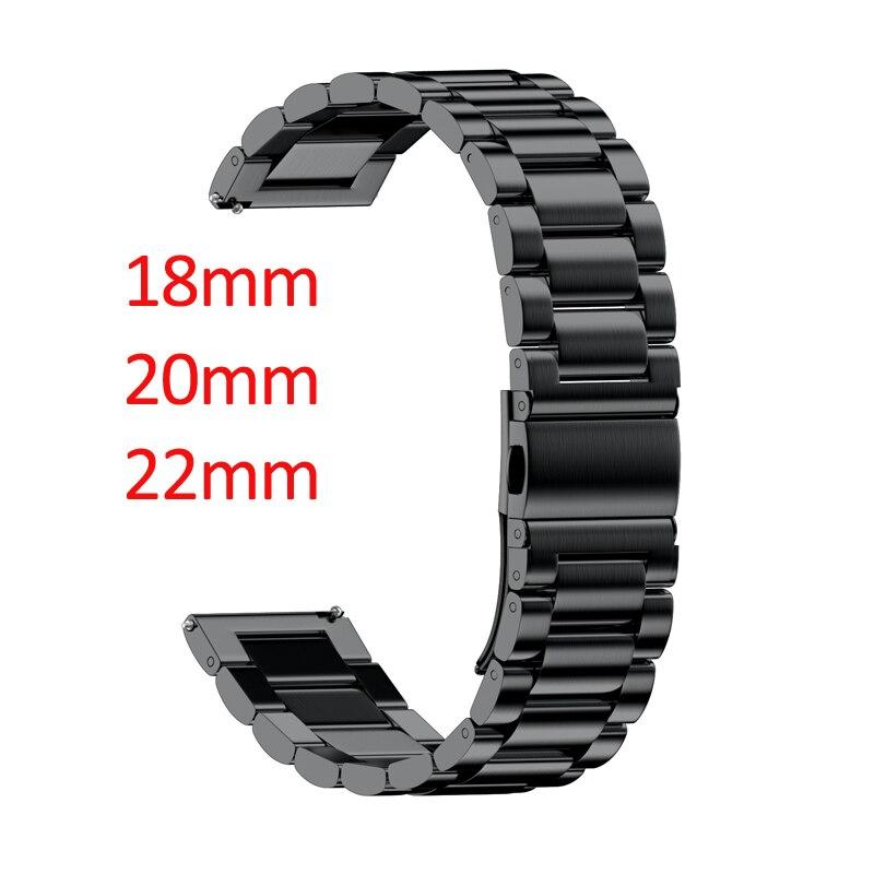 18mm 20mm 22mm ancho banda de acero inoxidable para Samsung Gear Sport S2 S3 Galaxy 42mm 46 MM correa de reloj pulsera de Metal