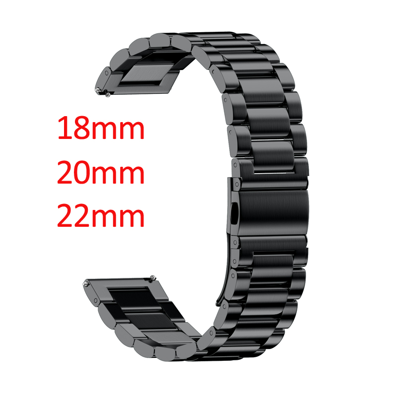 18mm 20mm 22mm width watchbands Universal strap for Smart Watch Metal Band Three Links Stainless Steel watch Band for People