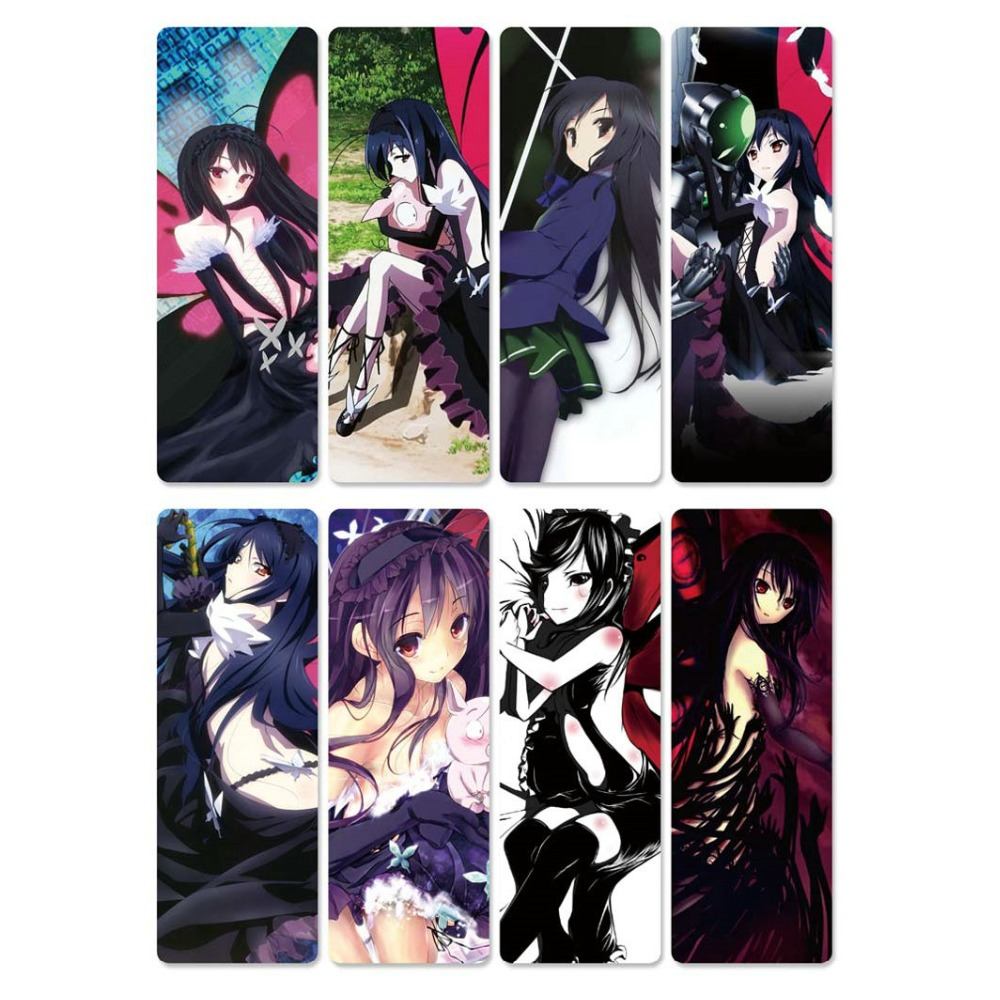 8pcs/sheet New Eco-friendly Accel World Anime Bookmarks PVC Plastic Bookmarks Waterproof Transparent Kids Cartoon Bookmarkers