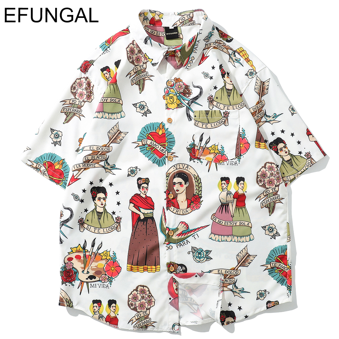 EFUNGAL Funny Girl 3d Printed Fashion Shirts Men Women Hawaii Tops Tees 2019 Summer New Design Casual Streetwear Hip Hop Shirt(China)