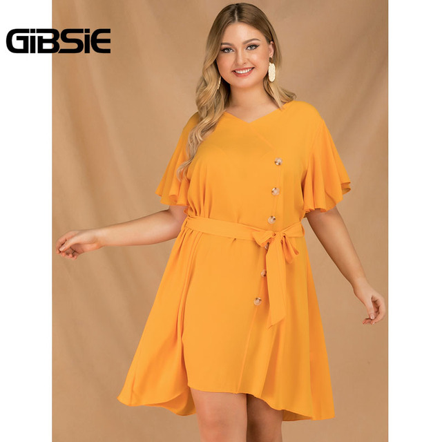 GIBSIE Plus Size Elegant V-Neck Butterfly Sleeve Button Dress Women 2019 Summer Boho Casual Belted Solid Midi Dress Vestidos 1