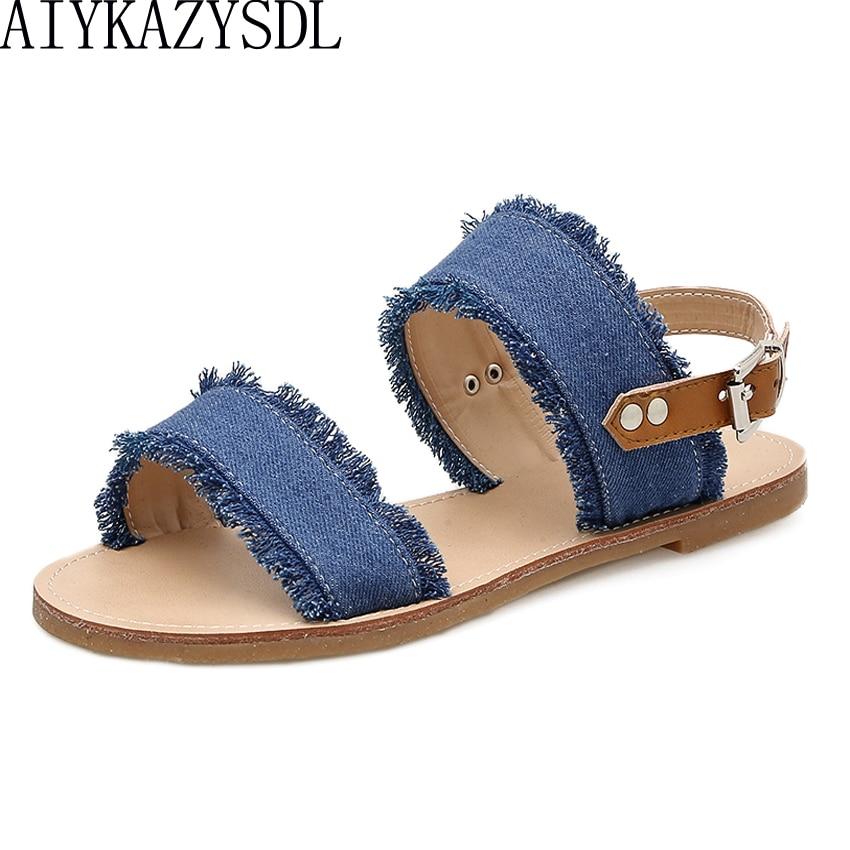 AIYKAZYSDL Casual Women Flat Heel Sandals Denim Frayed Strappy Sandals Slingback Buckle Strap Summer Shoes Flip Flops Plus Size appliqued frayed denim overalls