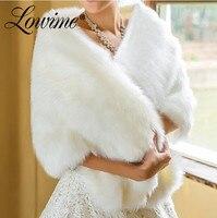 2019 Cheap Women Faux Fur Wrap Wedding Jacket Shawl Cape Winter Women Bolero Fur Bridal Coat Accessories