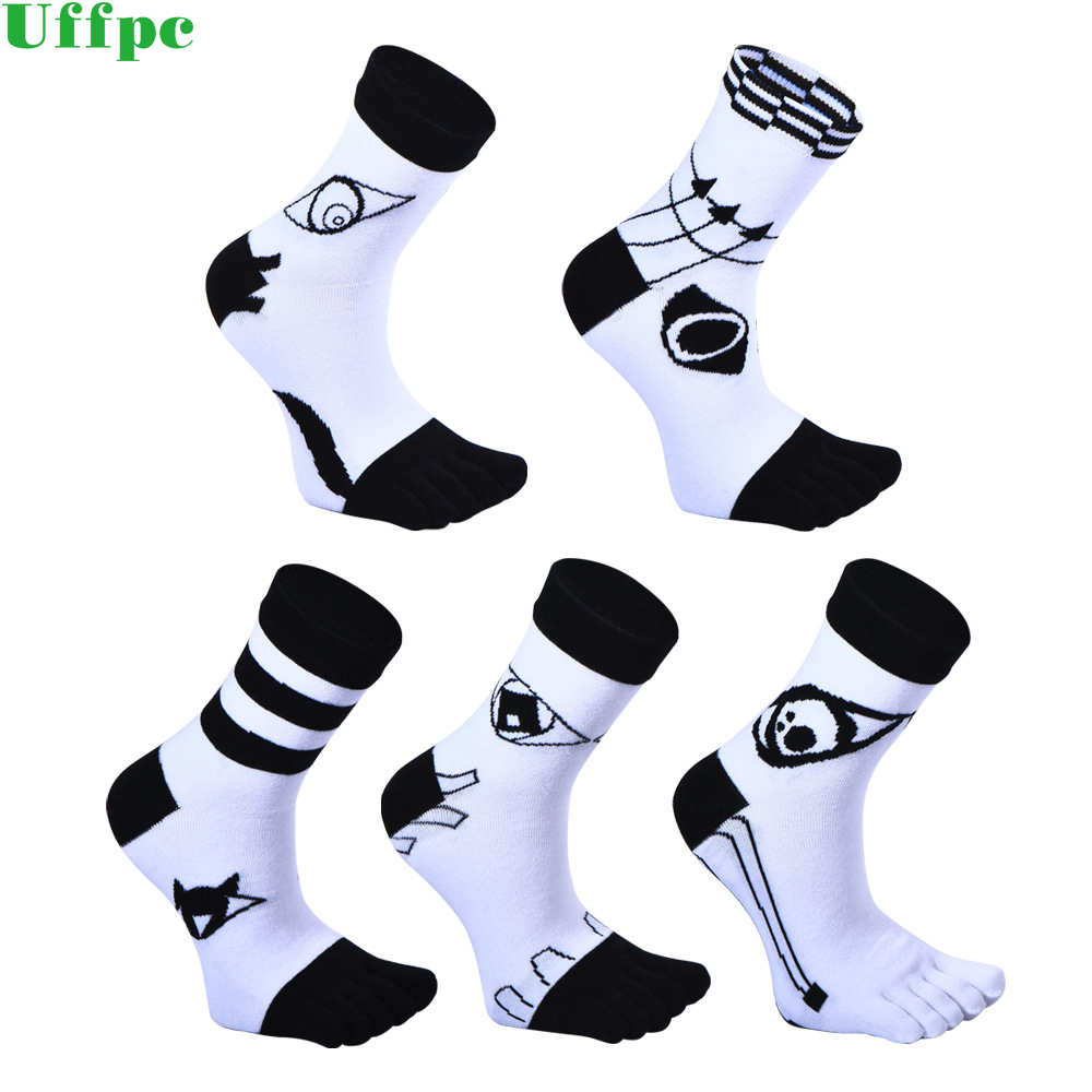 3pairs/Lot Brand Mens Business Dress Five Finger Toe Socks High Ankle Cotton Long Sox High Quality Sokken New 2018