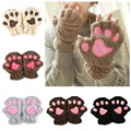 Winter Women Cute Cat Paw Claw Plush Mittens Short Fingerless Finger Half Gloves-J117