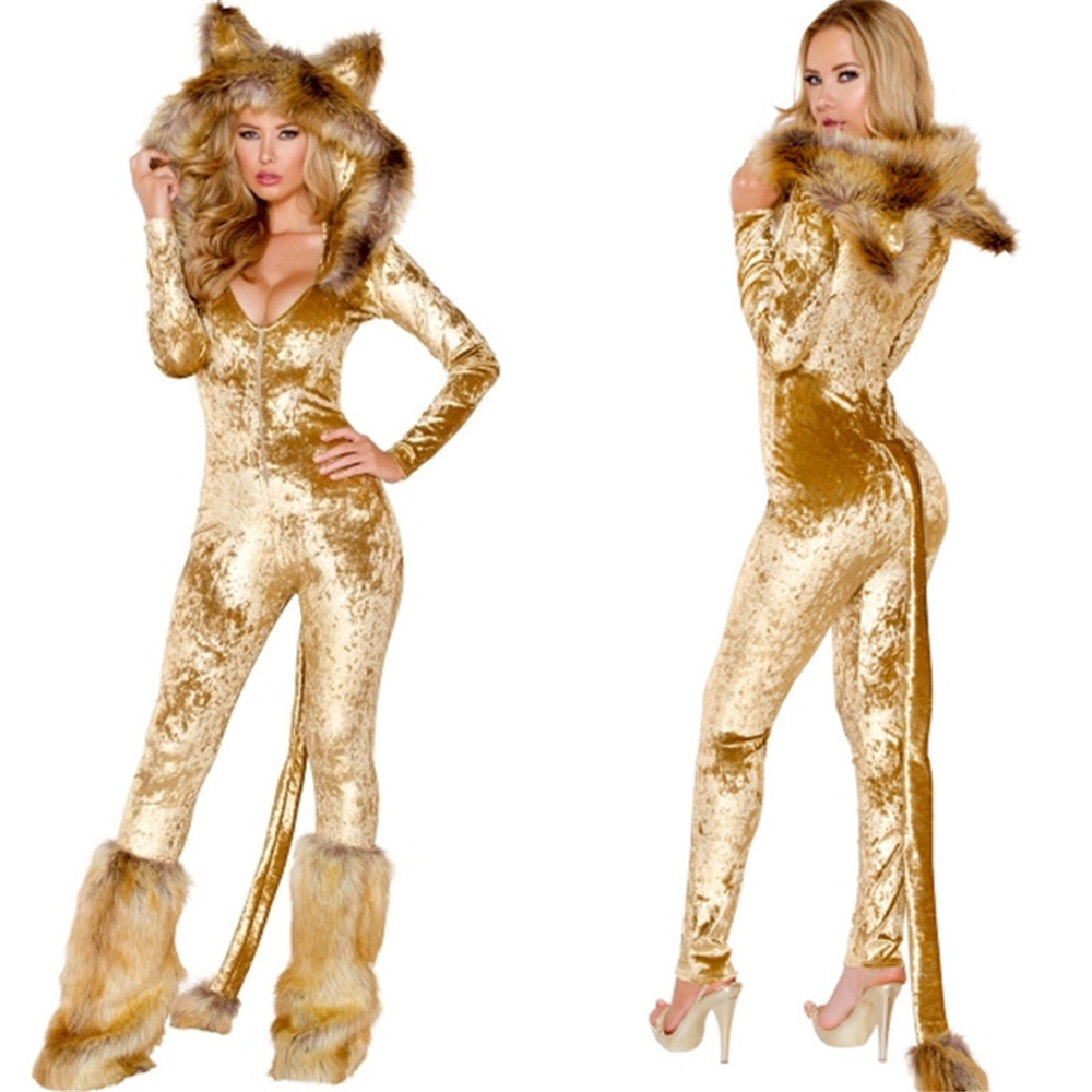 Halloween Animal Cosplay Golden Deluxe Lion Costume Costume Jumpsuits Set Women Adult Cos Animal Costume Body Suit
