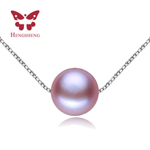 HENGSHENG 7 8mm Fine Perfect Round Purple Pearl Rope Chain Necklaces Pendants with freshwater pearl jewelry