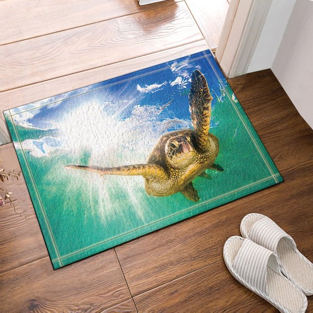 Charmant Diving Turtle Against Sun Penetrate Into Sea Bath Rugs Bathroom Entryways  Outdoor Indoor Front Door Mat