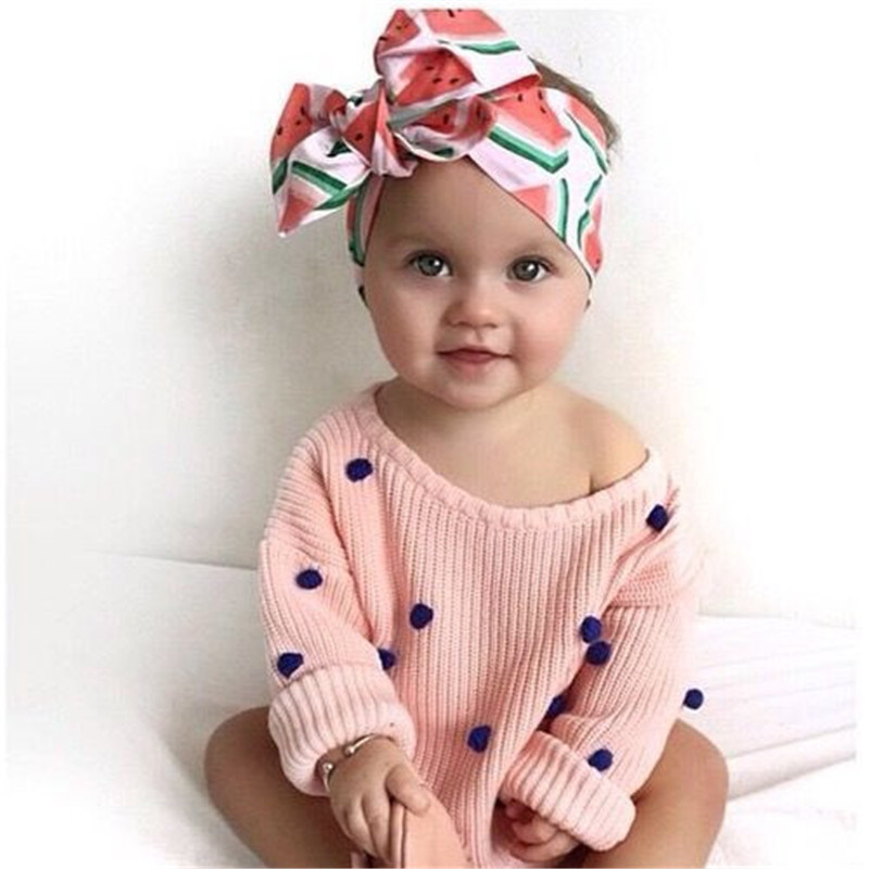 Retail Cute Headwraps Top Knot Dot big Bow Headband Children Infants DIY Headwear Turban Girl Hair Accessories 3pcs lot lovely printed floral fabric bow headband striped dots knot elastic nylon hair band for girl children headwear