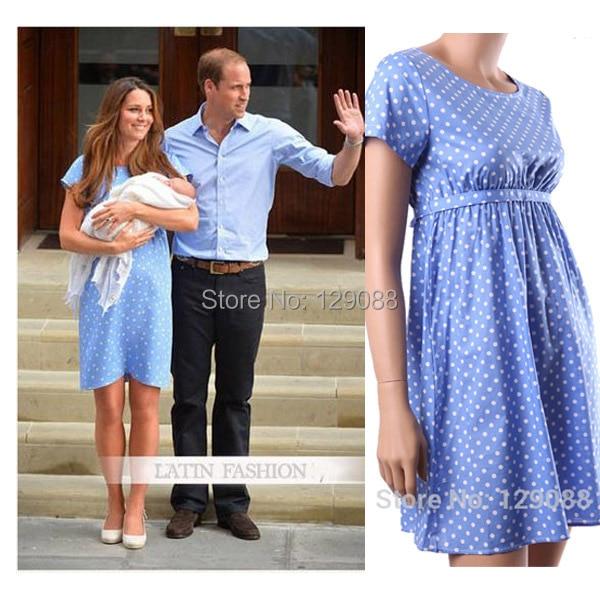 3e775d019e527 Princess Kate Middleton Same Style Maternity Dress O neck Kate's Blue Dot  Summer Dresses For Pregnant Women Maternity Clothing-in Dresses from Mother  & Kids ...
