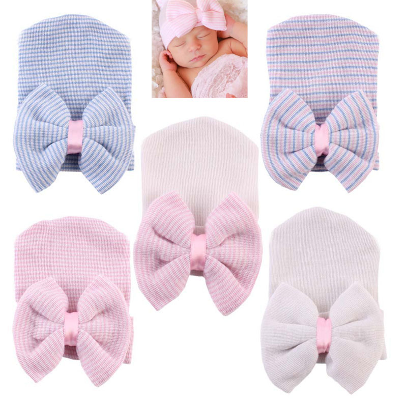 Baby Girl Newborn Beanie Hospital Cute Infant Hats Cotton Beanie With Bow  Soft Knit Bonnet Striped Cap Baby Toddler Accessories 0553836f267